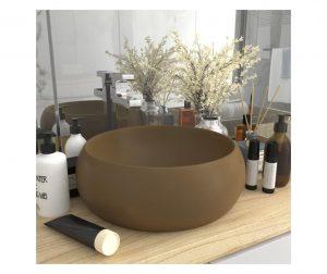 Chiuveta baie lux, crem mat, 40x15 cm, ceramica, rotund